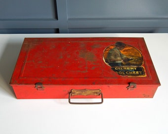 Vintage Big Boy Metal Tool Chest/Vintage Tool Box/Red Tool Box/Big Boy Red Tool Box/Men's Collectibles/Man Cave Decor/Decorative Storage Box