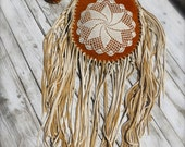 NEW PRICE!!!!! stunning buffalo suede bag - extra long deer suede tassels and crochet - traditionally handcrafted in native american style