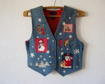 Colorful Waistcoat Womens Denim Patches with Christmas Motives Metal Buttons Cotton Fitted Romantic Medium Size Vest