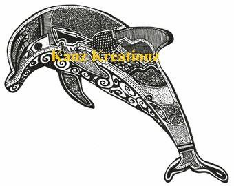 Hand drawn dolphin
