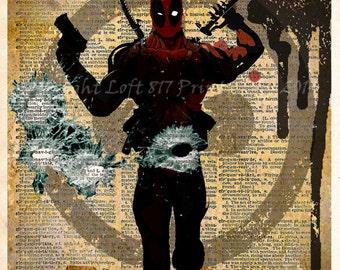 Deadpool poster - Deadpool wall art - Vintage dictionary print - superhero art