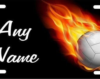 Custom personalized License Plate Volleyball in flames