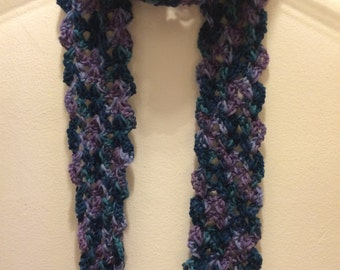 Purplr, Blue and Green Crocheted Scarf