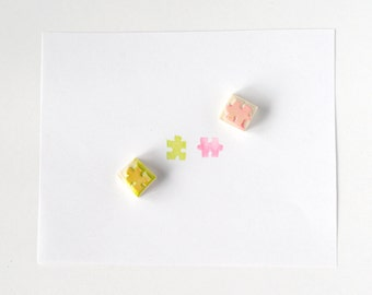 Puzzle piece rubber stamp, hand carved rubber stamp, puzzles, puzzle shape