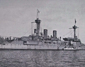 Branderburg class battleship print. Old book plate, 1897. Antique illustration. 117 years lithograph. 9'6 x 6'2 inches.