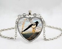 Magpie Pendant Necklace // Bird Pendant Necklace // Bird Jewelry