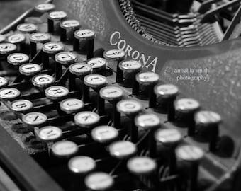 Antique Corona typewriter; black and white