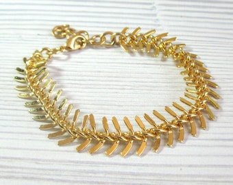 Spine Bracelet , Fishtail Bracelet , Chunky Gold Bracelet , Gold Chain Bracelet , Arm Candy , Spine Jewelry , Statement Bracelet