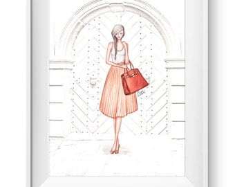 Fashion illustration print, Fashion art, girl art, girls room art, watercolor - A Passport Affair