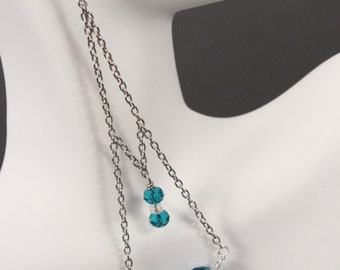 Silver Double Chain Earrings with Blue Beads