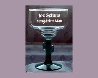 Engraved Margarita Glass, Personalized Margarita Glass, Engraved Cactus Margarita, Personalized Cactus Margarita