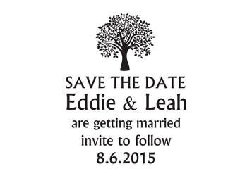 Custom Wedding Stamp, Save the date stamp tree
