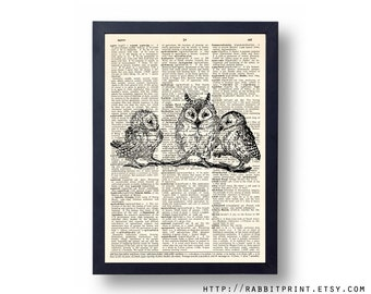 Three Owls Dictionary art print, 8x10 Owl Wall Art, illustration Wall Decal, Upcycled Dictionary Page print, Book Print Wall decor