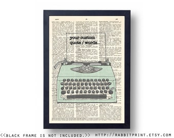 Custom Personalized Quote Art Print, Typography Typewriter Dictionary art print, 8x10 Wall Art Print, Living Room wall decor, poster decal