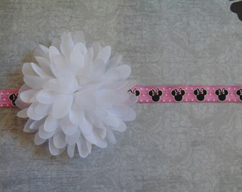 Pink/Black Minnie Mouse Elastic with Large White Silk Puff Flower