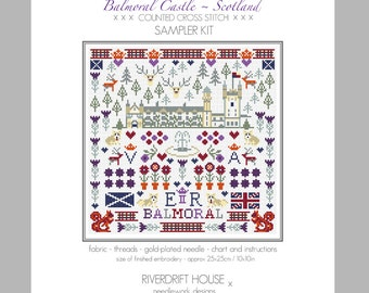 CROSS STITCH KIT Balmoral Sampler by Riverdrift House