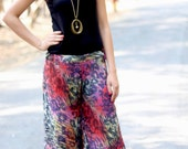 Aztec Silk Summer Pants-Silk Wide Leg Pant- Women Harem Pants -Yoga Boho Pants-womens yoga pants- Yoga Clothing- Baggy Pants- Aladdin Pants