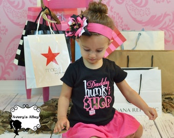 Daddy hunts I shop - Girls Camo Applique Black Shirt or Bodysuit and Matching Hair Bow Set