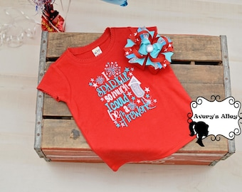 I Sparkle so much I could be a Firework - Girls 4th of July Embroidered Red Shirt & Matching Hair Bow Set