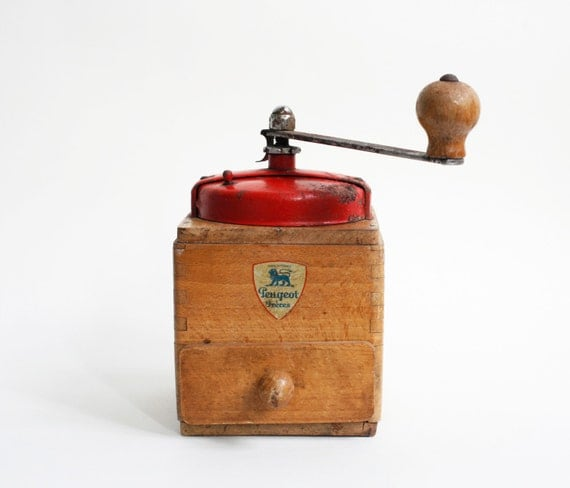 vintage French coffee grinder, Peugeot coffee mill, red, French kitchen decor, vintage French decor, rustic antique wooden coffee grinder