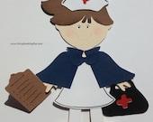 Vintage Nurse Girl Paper Doll PLUS Accessories! FREE Shipping! Paper Piecing, Die Cut, Cricut, Scrapbooking