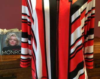 vintage 80's red white black asymmetrical hem front art deco inspired top blouse