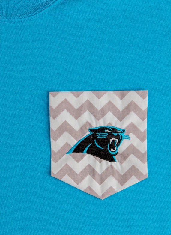 Chevron pocket t shirt and panthers embroidery