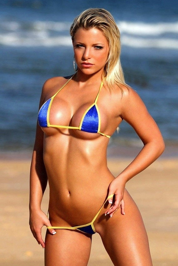 Solid Blue W Yellow Sexy Micro G String Bikini 2pc Triangle