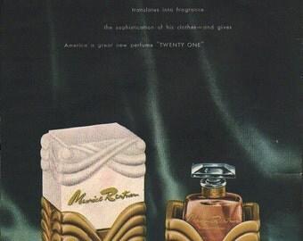 Original Maurice Rentner, Twenty One perfume ad  1940s from Vogue magazine 8 1/2 x 12 in. - beauty295