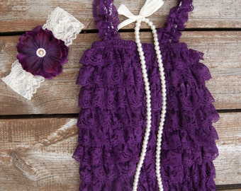 Petti Lace Romper set-Lace Romper-Girls Lace Romper set- Baby Romper-Purple petti romper, Baby girl purple 1st birthday. Plum romper