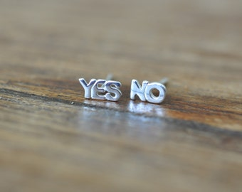Yes and No Stud Earrings in Sterling Silver