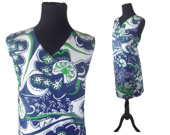 60s Mod Dress Retro Op Art Blue White and Green Psychedelic Exaggerated Paisley Print Scooter Shift Dress Sz L