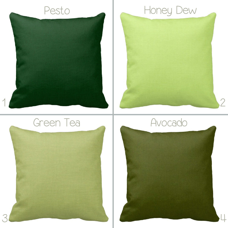 Dark or Light Green Zippered Throw Pillow by PrimalVogueHomeDecor