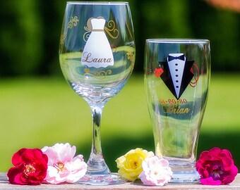 Set of 2- Bride and Groom glasses, Strapless dress, Gold, Dark Red colors. Wine and Pilsner beer glasses.