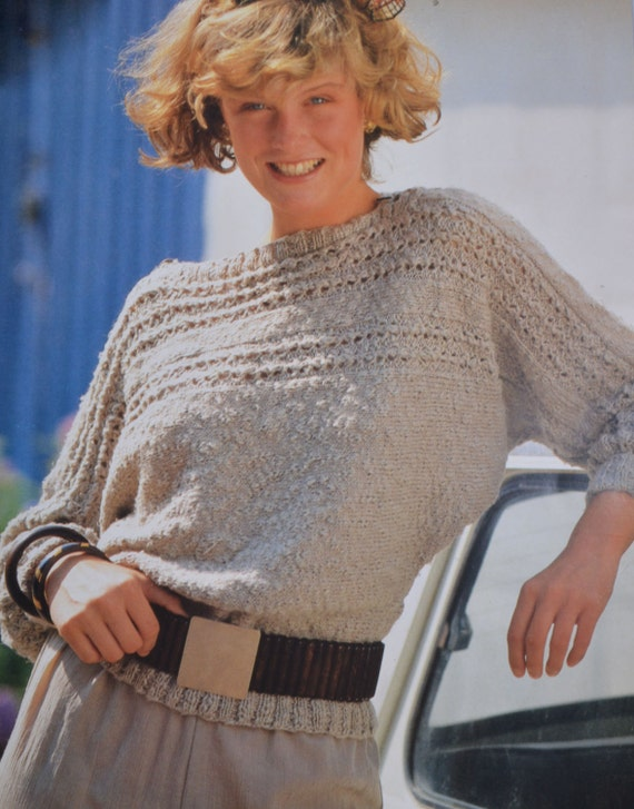 One Piece Sweater Knitting Pattern : PDF sideways sweater vintage knitting pattern one piece