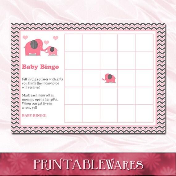 pink elephant baby shower bingo game card girls gray chevron, Baby shower invitations