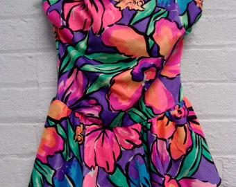1980s Neon Floral Bathing Suit / Swim Suit from Carnival of Fashion