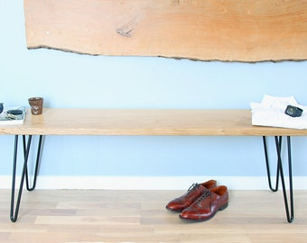 Bench in solid oak and stell hairpin legs