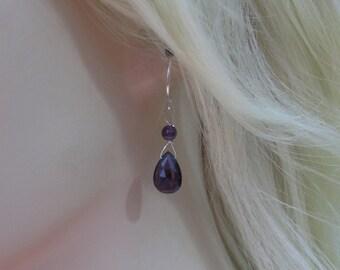 Amethyst Briolette Earrings in Sterling Silver, Amethyst Gemstone Earrings,, Amethyst Birthstone, Amethyst Jewelry, February Birthstone