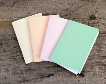 "3x4"" set of 4 notebooks pastel notebook journal, wedding favor, party favor, tiny notebook, mini notebook, pastel small notebook stapled"