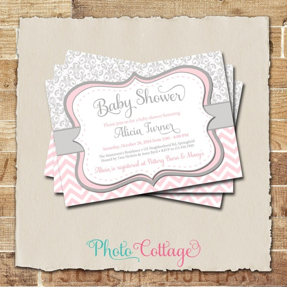 pink gray girl baby shower invitation damask and chevron invitation