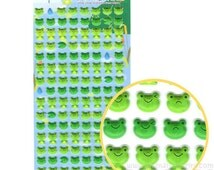 Cute Froggy Frog Face and LilyPad Shaped Puffy Stickers for Kids | Cute Animal Inspired Scrapbook Decorating Supplies