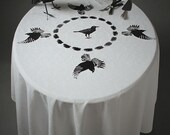 Embroidered white damask tablecloth upcycled with grey and black raven, crows and a feather wreath. OOAK