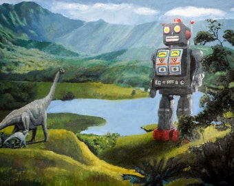 "Surreal Print of 'Robot meets Dinosaurs' 6""x9"", 8""x12"", 12""x18"", or 16""x24"""