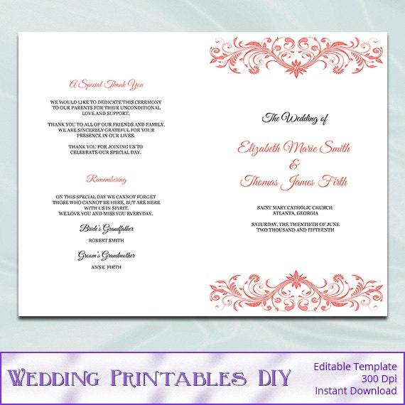 catholic wedding program template diy printable coral order. Black Bedroom Furniture Sets. Home Design Ideas