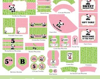 Panda 5th Birthday Printable Set - Complete Set, Party Printable Set, Party printable, Panda Party Printable Set, - INVITATION NOT INCLUDED