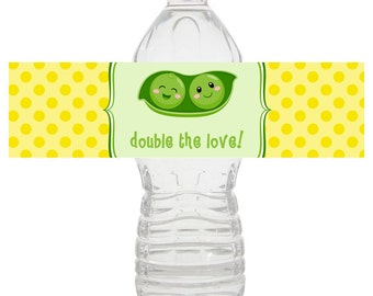 Twins Baby Shower Water Bottle Wrapper, Baby Shower Water Bottle, Water Wrapper, Baby Shower Printable Party Decorations