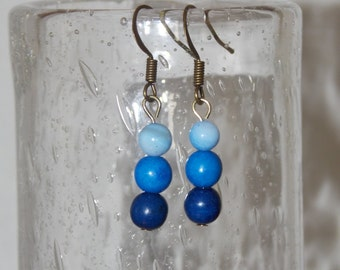 BLUE MORN Shell and Turquoise Stacked Bead Dangle Earrings