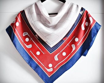Vintage LOREDANO Silk Scarf / Polo / Navy blue red white