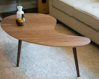 Mid Century Modern Coffee Table Kidney Bean - Walnut, Extra Large  (Kidney Bean Coffee Table, Boomerang Coffee Table, Mid Century Modern)